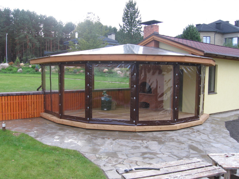 Tents for arbours and porches to buy in Moscow with transparent windows